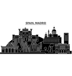 spain madrid architecture city skyline vector image vector image