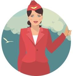 stewardess in a round emblem vector image