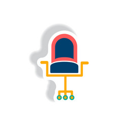 Stylish icon in paper sticker style office chair vector