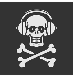 Symbol skull in headphones vector