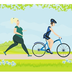 training in spring day vector image vector image