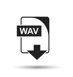 Wav icon flat wav download sign symbol with vector