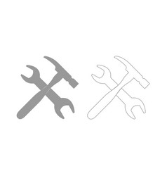 Wrench and hammer set icon vector