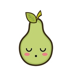 Kawaii cartoon pear fruit vector