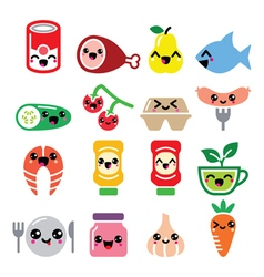 Kawaii cute food characters - meat vegetables vector