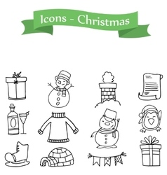 Icons holiday christmas set collection vector