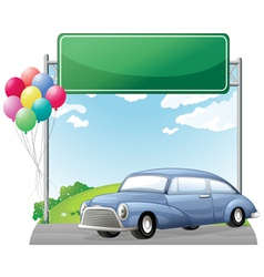 A car and balloons with an empty signboard vector