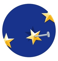 European union star nailed to a blue background vector