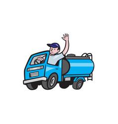Baby tanker truck driver waving cartoon vector