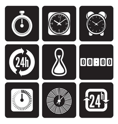 Clocks time icons set vector