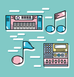 Set technology music elements to lay music vector