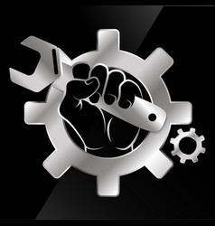 wrench in hand for repair vector image