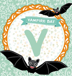 Abc animals v is vampire bat childrens english vector