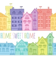 Seamless pattern of coloured houses drawn by hand vector