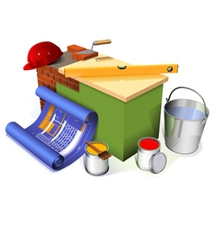 Part of the brick wall with different objects vector