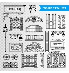 Decorative forged metal elements set black vector