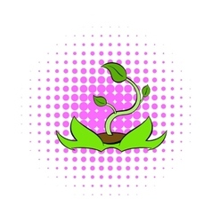 Green sprout icon comics style vector