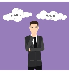 Plan a plan b businessman think using suit and tie vector