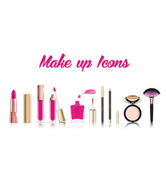 Beautiful cosmetic icons set in gold lipstick vector