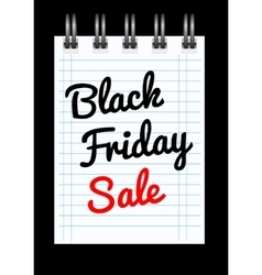 Black friday sale background with notepad vector image