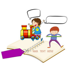 blank notebook with two boys and train background vector image vector image