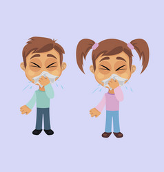 Boy and girl with sneezing symptom vector