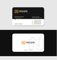 Business card with yellow n letter as thunderbolt vector