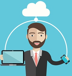Businessman using cloud storage for smart phone vector
