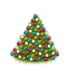 Christmas Tree Decorated Colorful Balls vector image