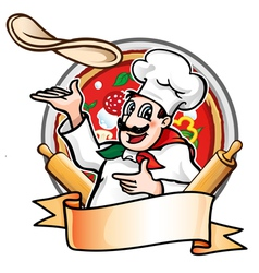 cook throws the pizza vector image vector image