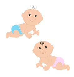 Cute baby boy and girl crawling in pink blue vector