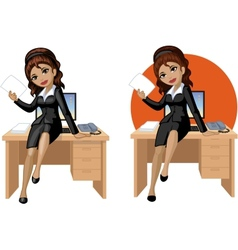 Cute young Indonesian office woman sitting on vector image vector image