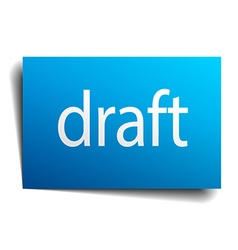 Draft blue paper sign on white background vector