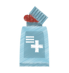 Drawing bottle medicine cross vector