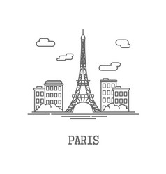 drawing silhouette the city of paris vector image vector image