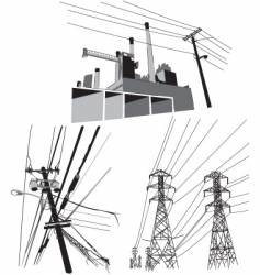 electricity set of vector image vector image