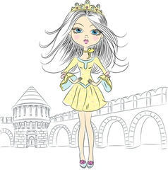 Fashion girl princess in the crown vector