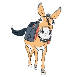 Funny donkey with a saddle vector image