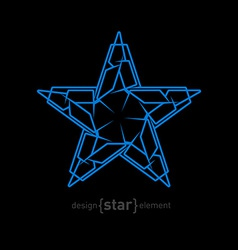 Futuristic star abstract design element on black vector image vector image