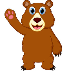 happy bear cartoon waving hand vector image vector image