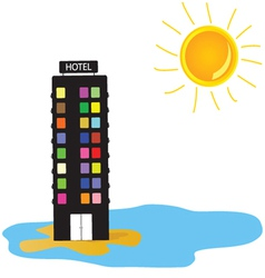 Hotel on the beach vector