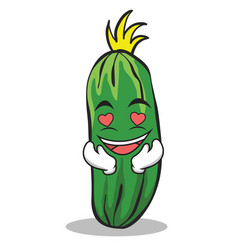 In love cucumber character cartoon collection vector