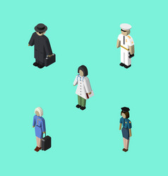 isometric human set of doctor hostess seaman and vector image vector image