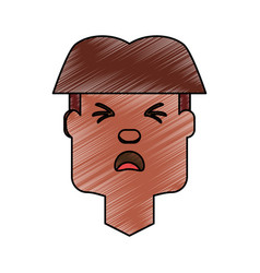 man with heart attack face cartoon vector image vector image