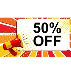 Megaphone with 50 percent off announcement flat vector