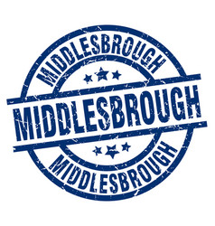 middlesbrough blue round grunge stamp vector image vector image