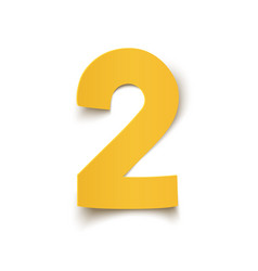 number two yellow abstract design isolated on vector image