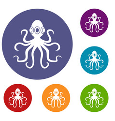 Octopus icons set vector