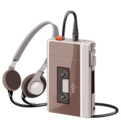 Old cassette music player with wired headphones vector