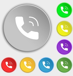 Phone icon sign Symbol on eight flat buttons vector image vector image